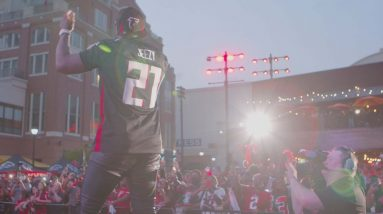 Falcons fans gear up for kickoff at the Dirty Birds Rally